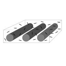 Schematische Darstellung eines faserverstärkten Kunststoffes mit Grapheninklusionen